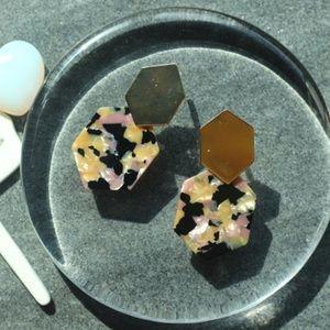 New Marble Tortoise Geometric resin gold earrings